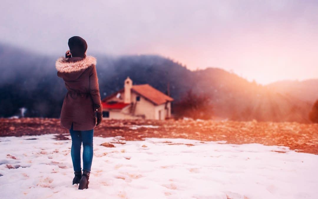 woman winter outside