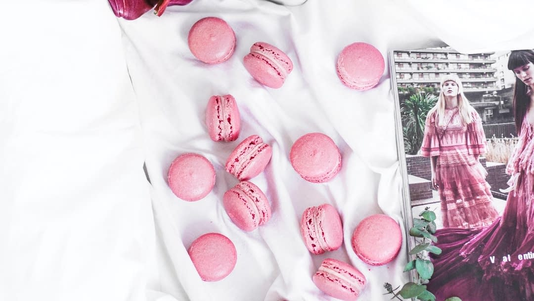 macaroons on a bed