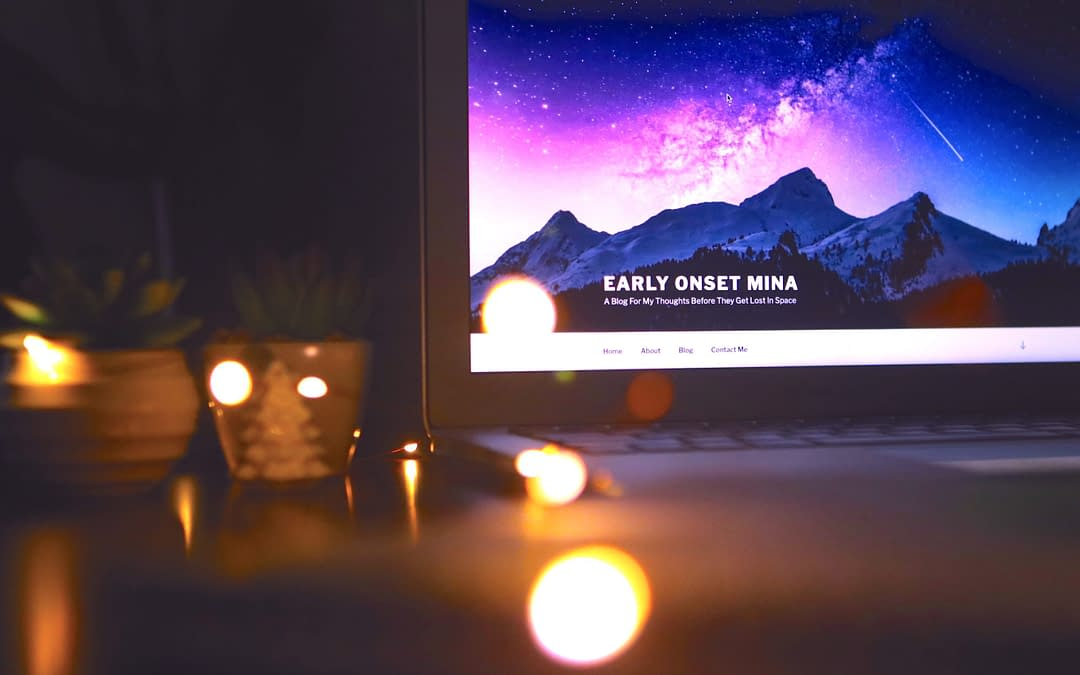 computer and candles